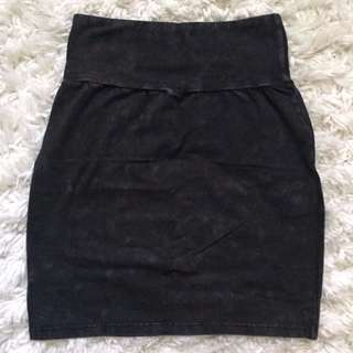 Aritzia Talula Black Grey Mineral Wash Bodycon Skirt size S NWOT