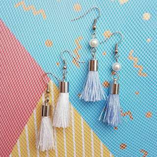 Baby Blue Tassel Earings