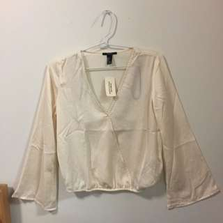 Forever 21 Surplice Cream Long Sleeve Top