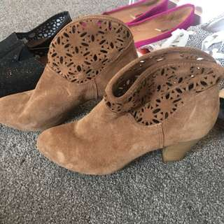 Brown Suede Feel Ankle Boots
