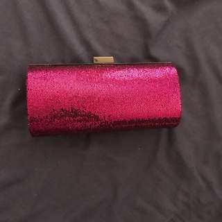 Pink Sequinned Clutch