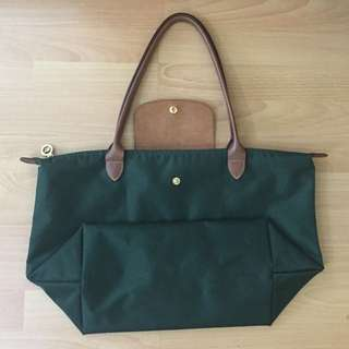 Longchamp Dark Green Medium Long Handle
