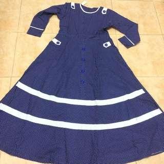 Navy Polka Dress
