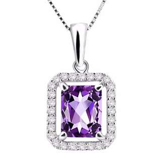 2.61 Ct Emerald Cut Natural Purple Amethyst 925 Sterling Silver Pendant 18""