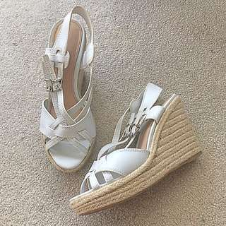 Charles & Keith White Wedge Heel Sandals - Size 38