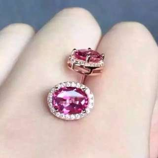 Classic Round Natural Pink Topaz Stone Stud Earrings
