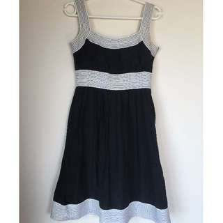 Zara Monochrome Cotton/Silk Dress Size S