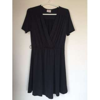 Leona Edminston Mock Wrap Dress Black Size 3 (12-14)