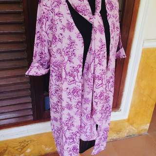 Flowery Outer W/ Scarf