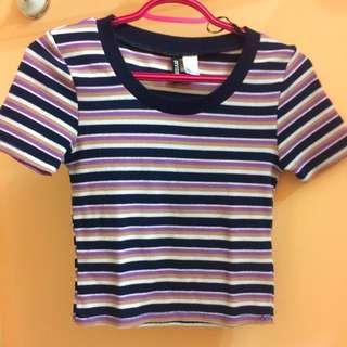 H&M Striped Cropped Shirt