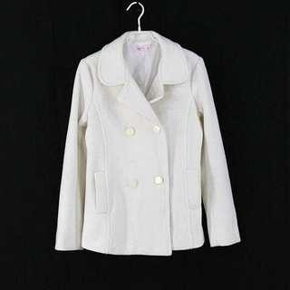 正韓氣質白色毛呢雙排釦外套M