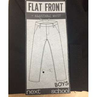 BNWT Next Boys Flat Front School Pants Elastic Waist Black Size 8