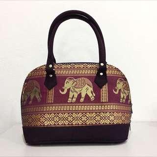 Thailand Collection - Handbag with Elephant Woven Motif