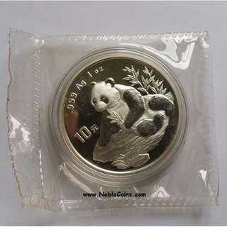 1998 China Panda 1 oz Silver coin. Small Date. Double seal. OMP