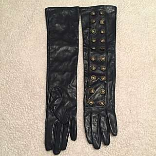 Black Elbow length Faux leather Gloves