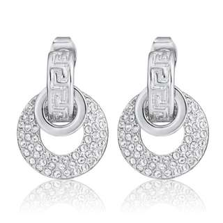 Sub Circle Earrings Ft Swarovski Elements White Gold Butterfly Backing Round
