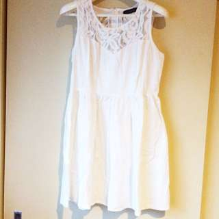 White Linen Lace Dress. Pick Up Only