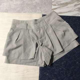女裝雪紡短褲 灰藍色 淺灰色 夏天 有褲袋 很清涼