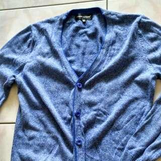 針織衫 罩衫 雪花藍 合身 小版