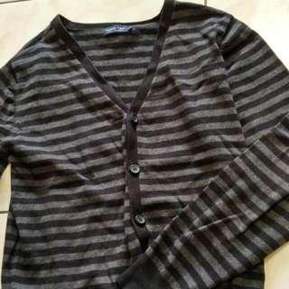 針織衫 罩衫 橫條 黑灰香煎 合身