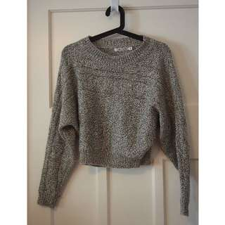 Slide-Show grey and white knitted crop jumper