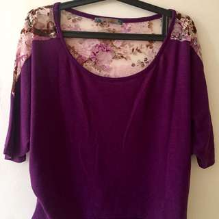 Purple blouse with Floral Print Lace