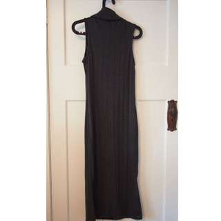 Cotton On dark grey ribbed turtleneck long dress