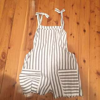 Stripy Navy Blue And White Playsuit
