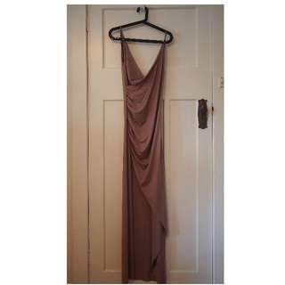 Pink/mauve long silky dress from Popcherry size 12