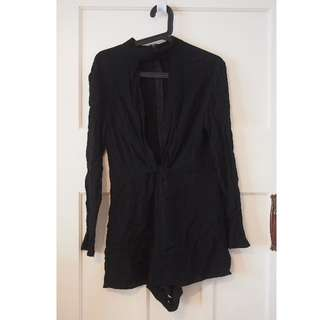 Dissh black high collar playsuit