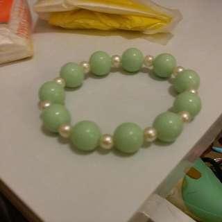 清新系綠色珍珠手鏈