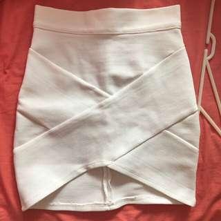 Tight White Mini High waisted Skirt