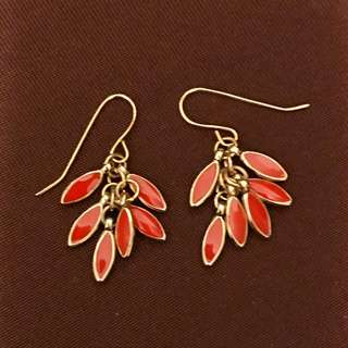 韓國紅色水滴耳環 Korean Red Drop Earrings