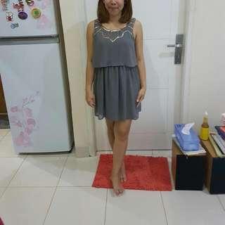 H&m Gray Chiffon Dress