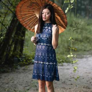 BNIB Lolly Rouge Lantern Riddles Dress (Navy) (Size S)