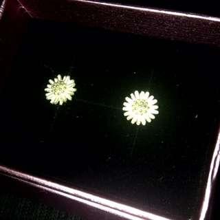 925純銀細緻花朵耳針