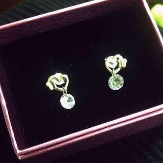 925純銀雙心晶鑽耳針