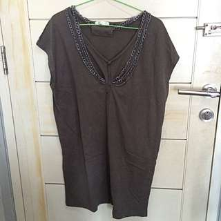 [REPRICE] T-shirt Dress With Chain