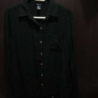 Forever 21 Black Button Down Polo