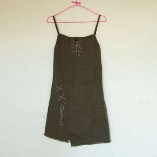 Dress Lace Up Hijau Tentara | Baju Kawaii Preloved / Second / Bekas