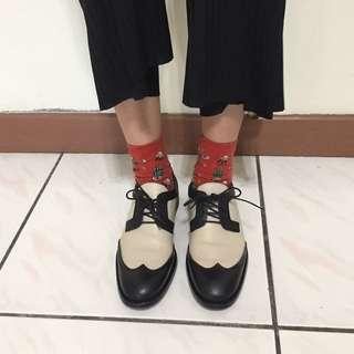 Zara撞色拼接皮革牛津鞋