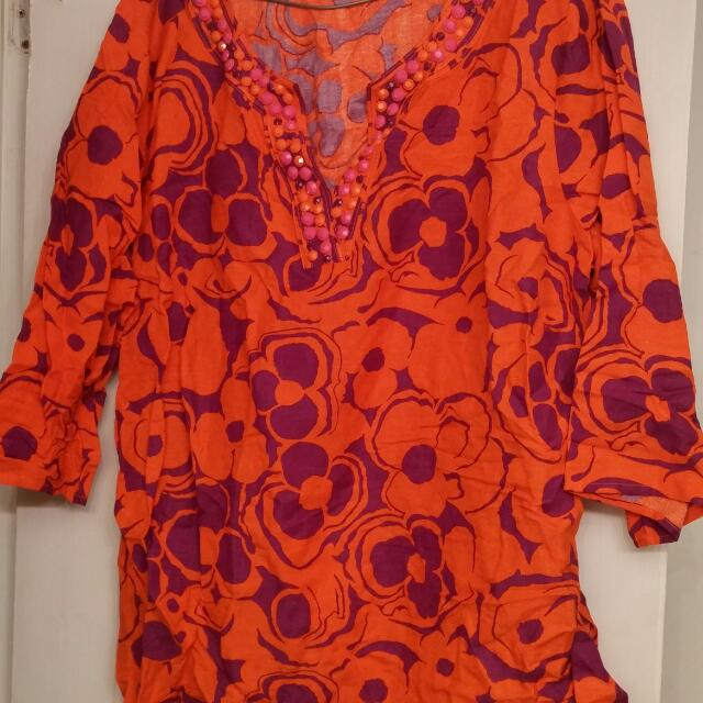 3X Linen Top. Orange and Purple. Worn Once