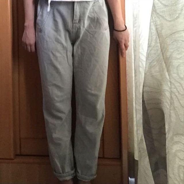 淺灰藍寬鬆牛仔褲(稍厚)含運