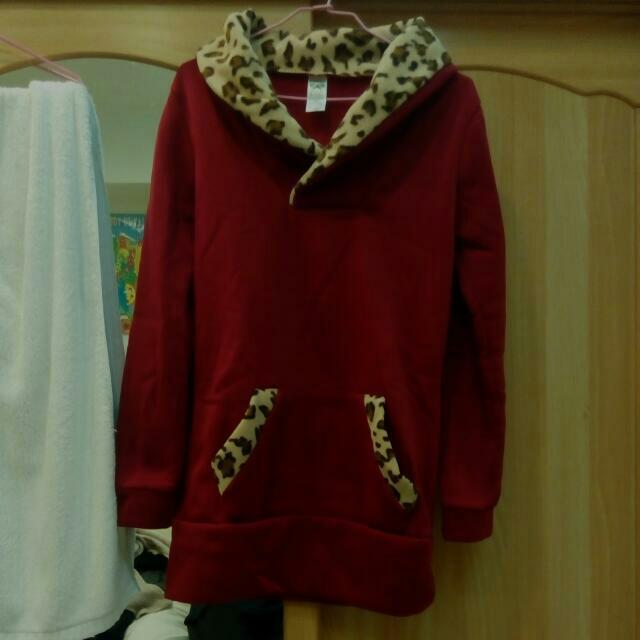 酒紅色鋪棉長版上衣