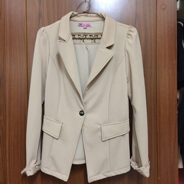 韓版米黃色西裝外套
