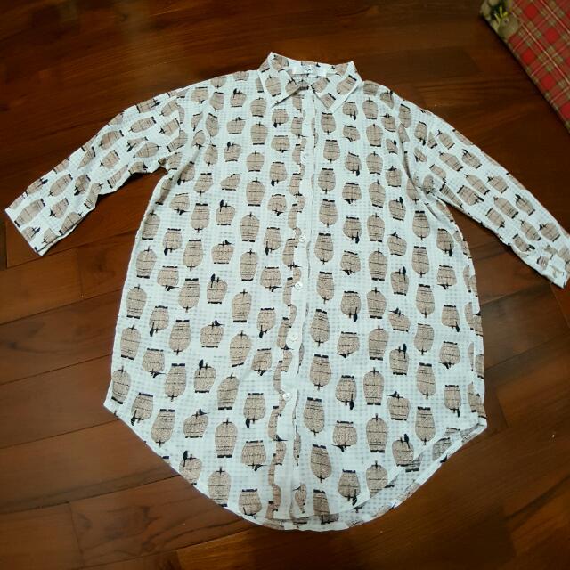 AIR SPACE 滿版鳥籠細格紋雪紡襯衫(活潑白)