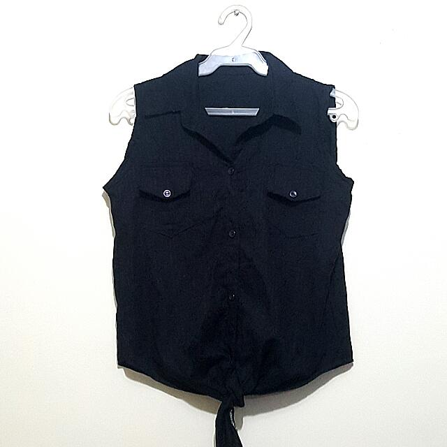 Black Button Front Collared Sleeveless