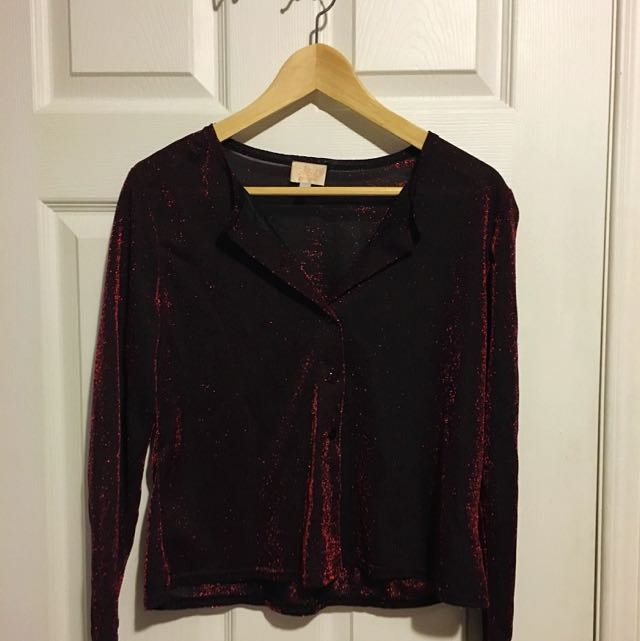 Black Button-up with Red Sparkles (very elegant)