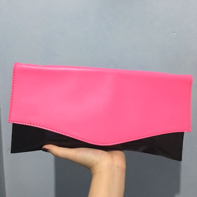 Black Pink Clutch Bag