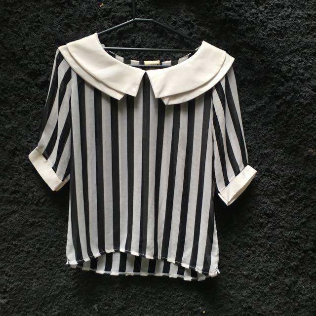 Black White Stripe Blouse